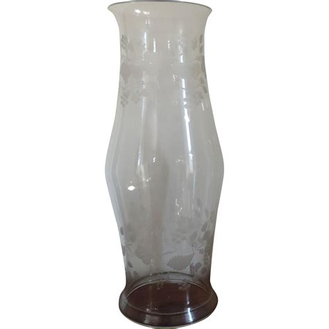 Hurricane Style Glass L Shades by Large Antique 19th Century Etched Glass Hurricane Shade
