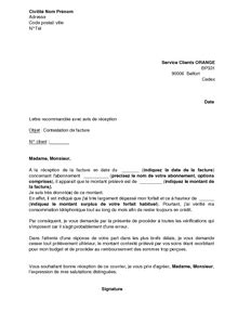 lettre de contestation de facture orange mod 232 le de