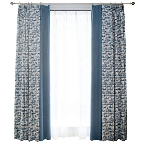 blue patterned curtains blue patterned splicing vintage curtains for bedroom