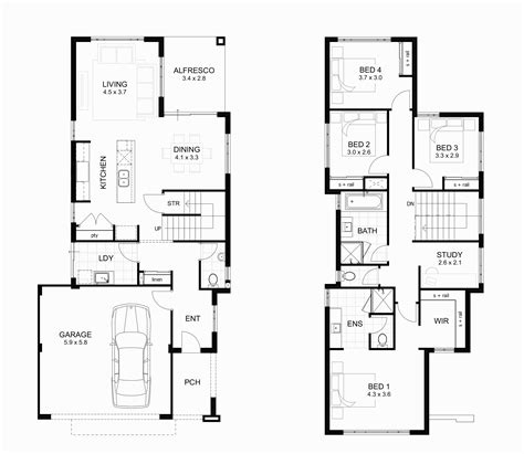 Contemporary 4 Bedroom House Plans by Floor Plans With Basement Modern Two Bedroom House Plans