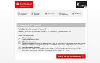 bankverbindung santander bank santander 1plus visa card kreditkarte im test