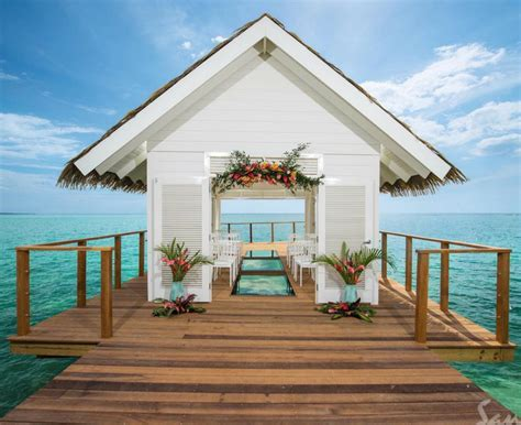 Stunning over the water wedding chapel at Sandals South