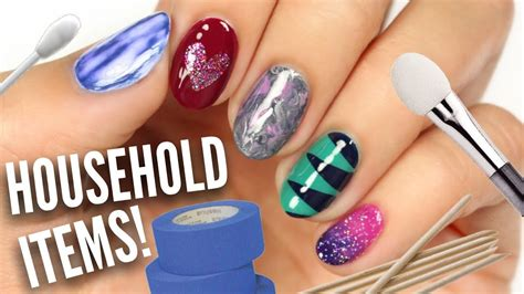 easy nail art by cutepolish 5 easy nail art designs using household items youtube