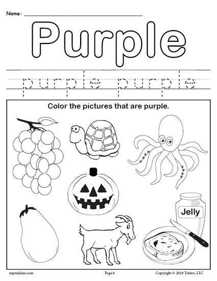Free Color Purple Worksheet Worksheets Activities Lesson Plans For Kids Pinterest Free Color Purple Worksheets For Preschool
