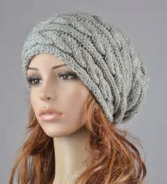 Hand knit hat grey hat slouchy hat cable pattern hat by maxmelody