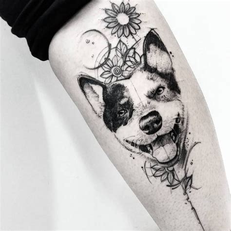 tattoo inspiration dog gorgeous pet dog black and white with floral design tattoo
