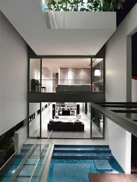modern sleek design sleek modern home in singapore with glass bridge over pool