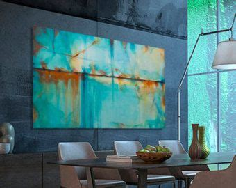 ölgemälde modern 877 abstract painting turquoise blue green orange large