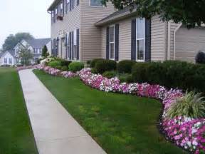 landscaping lovely flowers beds with bonsai trees and