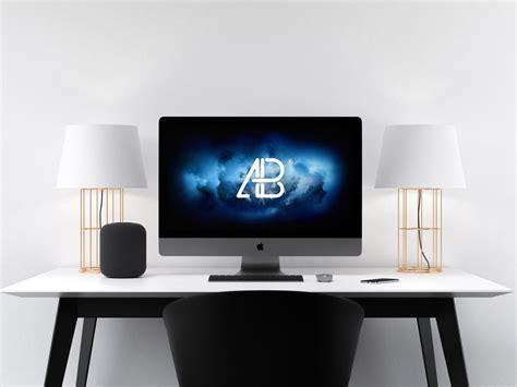 imac desk imac pro on home desk mockup mockupworld