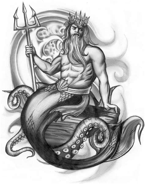 poseidon tattoo design designs by tara grady at coroflot