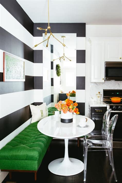 large black  white wall stripes  contemporary kitchen