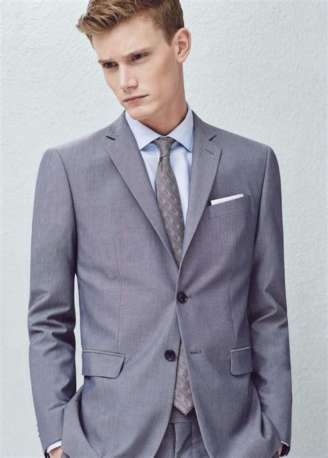 grey patterned blazer mango slim fit patterned suit blazer in gray for men lyst