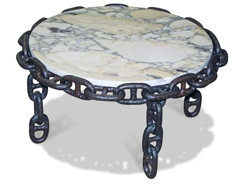 salvaged anchor chain table with early 1900s