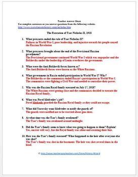 The Russian Revolution Worksheet