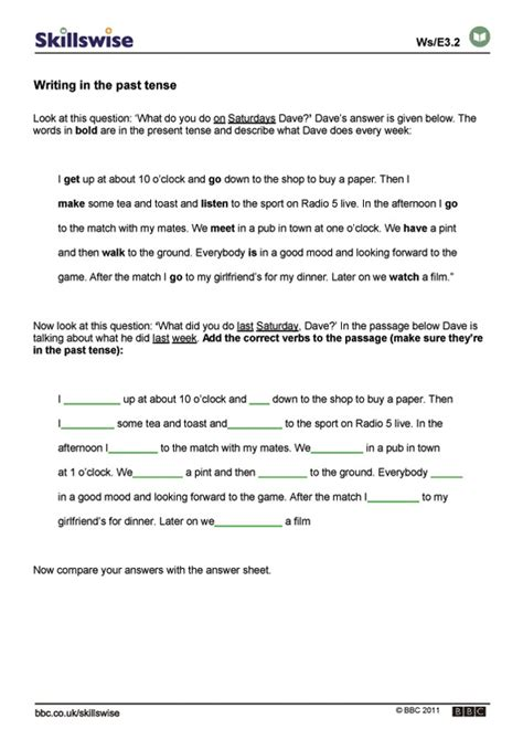 present tense to past tense worksheet writing in the past tense