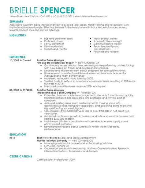 Assistant Sales Manager Sle Resume by Best Sales Assistant Managers Resume Exle Livecareer