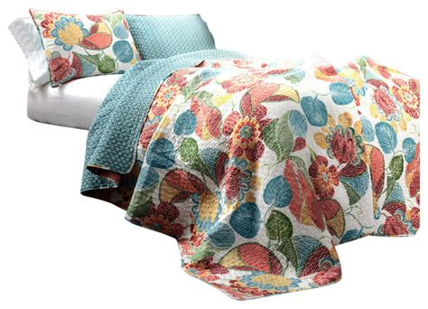 Orange And Blue Quilt Bedding Layla 3 Orange And Blue Quilt Set Orange Blue