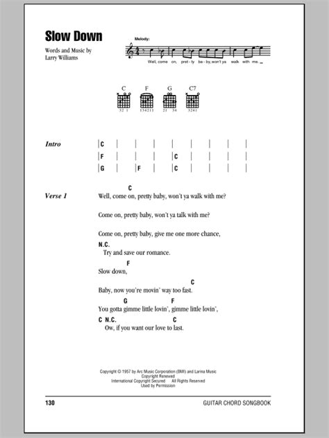 Slow Down by The Beatles - Guitar Chords/Lyrics - Guitar