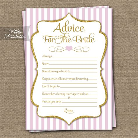 bridal shower advice ideas printable bridal shower advice cards pink gold