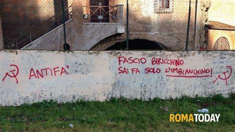 d italia sede roma colle oppio imbrattata sede fratelli d italia