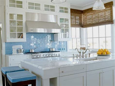 light blue kitchens 35 ways to use subway tiles in the kitchen digsdigs