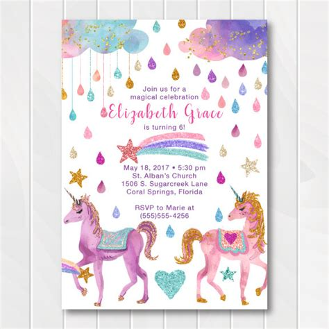 printable birthday cards unicorn glitter unicorn birthday invitation