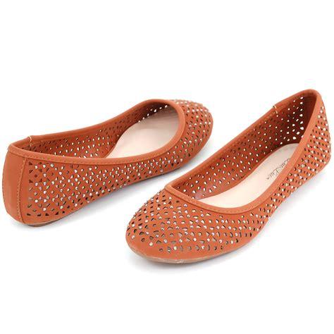 rhinestone shoes flats womens ballet flats perforated rhinestone embellished