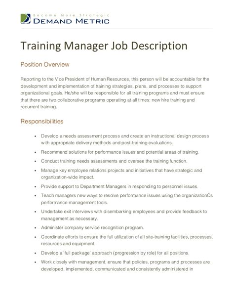 hr manager description 6 free sle exle sle