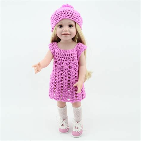 Handmade Baby Doll Clothes - wholesale dolls clothes purple knit dress hat fit 18 inch