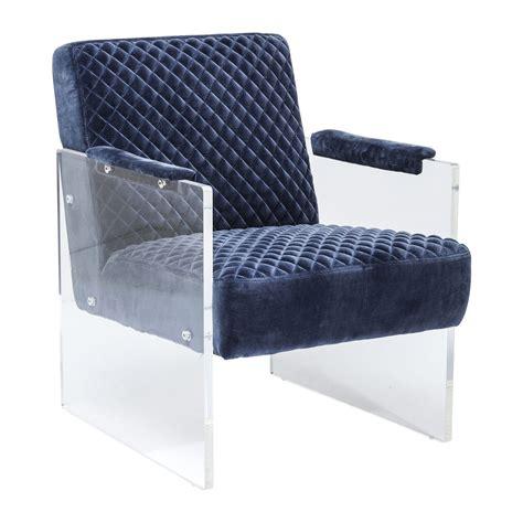 fauteuil moderne en velours bleu stich visible kare design