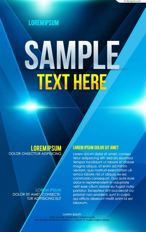 design a poster free template 4 designer vector material of blue business poster