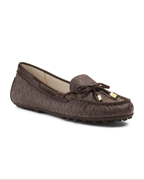 michael kors womens loafers michael kors michael logoprint loafer in brown lyst