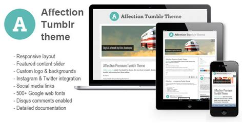 tumblr themes envato affection a responsive tumblr theme by 2lip themeforest