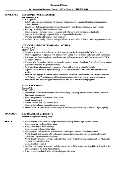 Nursing Resume Sle by Home Care Resume Ftempo