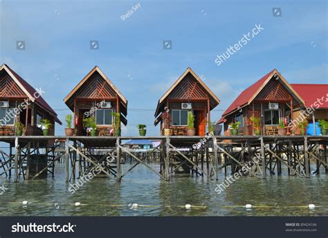 water bungalows in malaysia water bungalows at mabul island in borneo malaysia stock