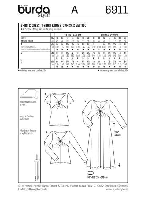 jersey twist pattern 6911 burda pattern misses twist front jersey t shirt and dress