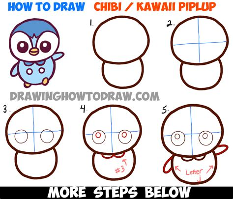 how to draw a step by step easy how to draw baby chibi kawaii piplup from easy step by step tutorial how to