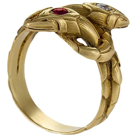 antique ruby gold serpent ring at 1stdibs