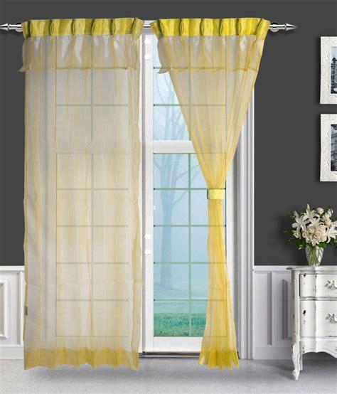 Yellow Linen Curtains Just Linen Set Of 2 Door Pleated Curtains Solid Yellow Buy Just Linen Set Of 2 Door Pleated