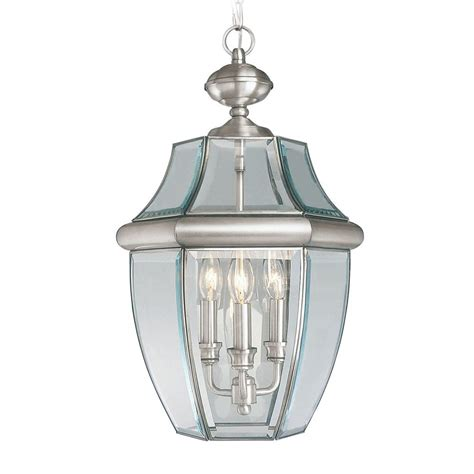 brushed nickel outdoor pendant light shop livex lighting monterey brushed nickel clear glass