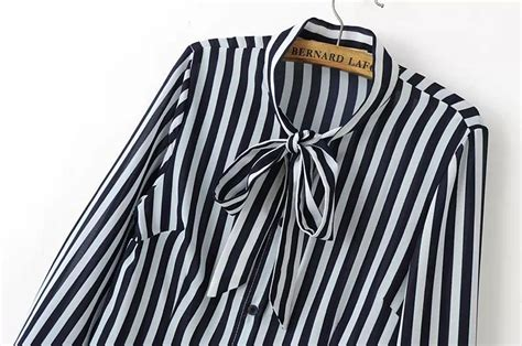 Mini Dress Kemeja Kerja Garis Lengan Panjang Baju Wanita Korea Import blouse lengan panjang garis hitam modis myrosefashion