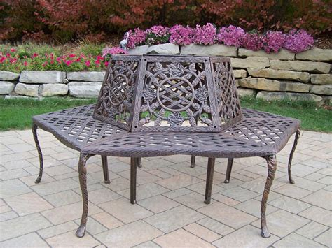 tree benches metal oakland living tea rose cast aluminum tree bench in