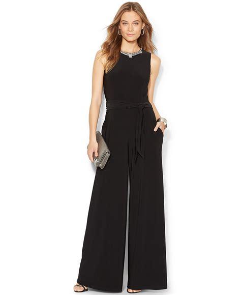 dressy jumpsuits at macys for women lauren ralph lauren embellished wide leg jumpsuit