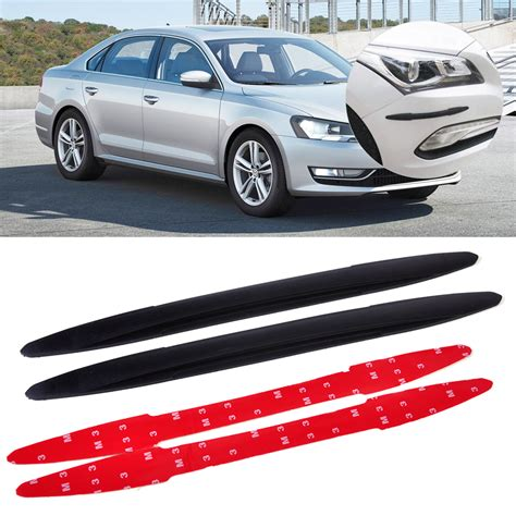 2pcs Car Front Rear Edge Bumper Corner Guard Scratch Protection Decora 2pcs black front rear bumper edge protector corner guard anti rub scratch sticker fit for car