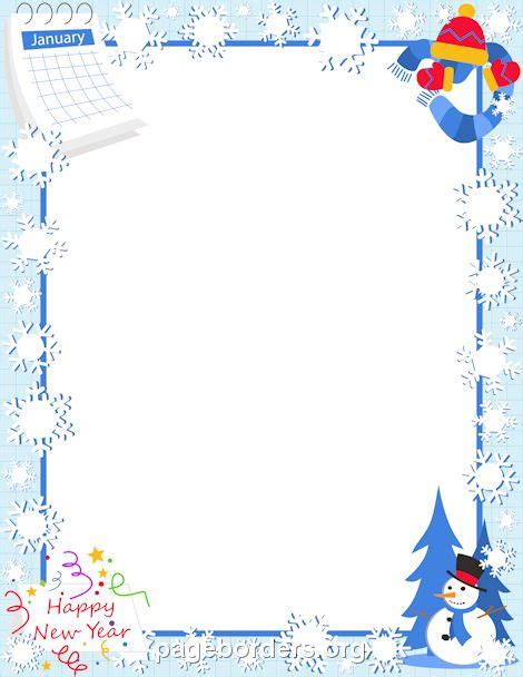 Printable January Stationery | printable january border use the border in microsoft word