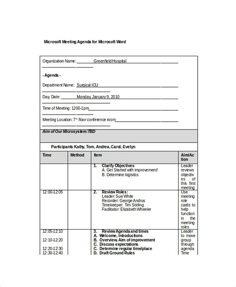 12 Microsoft Meeting Agenda Templates Free Sle Exle Format Download Free Premium Microsoft Meeting Minutes Template