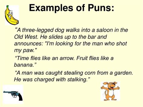 exle of a pun ppt types of comedy comedic devices powerpoint