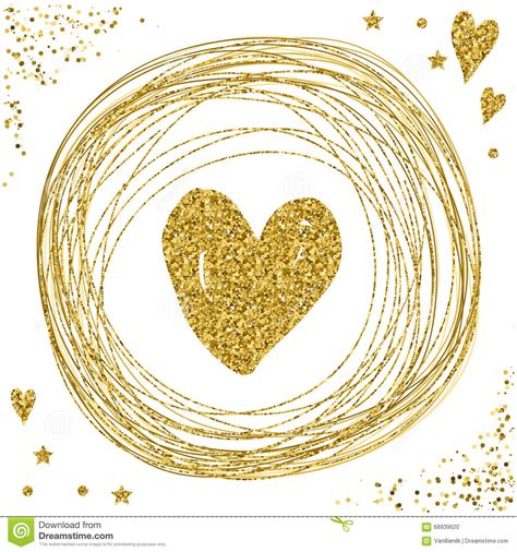 gold love themes heart on white gold glitter texture stock vector