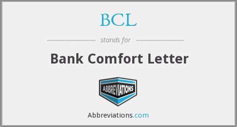 define comfort letter bcl bank comfort letter